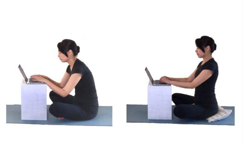 クッション等を用いて作業姿勢を改善